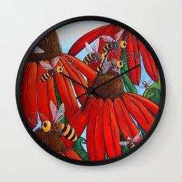 Bee Happy by DeeDee Draz Wall Clock