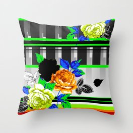 Chintz Rose Orange & Green Throw Pillow