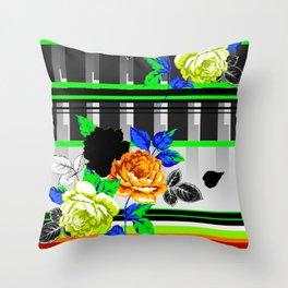 Chintz Rose Orange & Green Throw Pillow