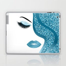 Blue glitte woman Laptop & iPad Skin