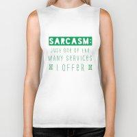 sarcasm Biker Tanks featuring Sarcasm by Jude's