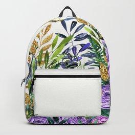 Gold Glitter Purple Garden Backpack