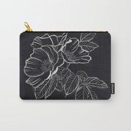 Chalked Roses - Black and White Modern Florals Carry-All Pouch