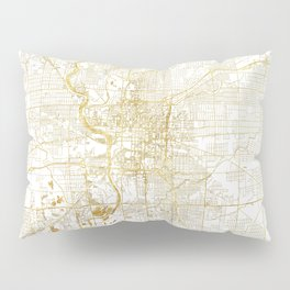 Indianapolis Map Gold Pillow Sham