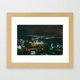 Kaunas old town at night Framed Art Print