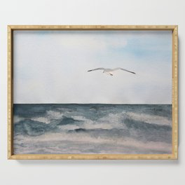 Seagull flying over the Ocean Watercolor Art Serving Tray