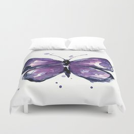 Purple Butterfly Watercolor Abstract Animal Art Duvet Cover