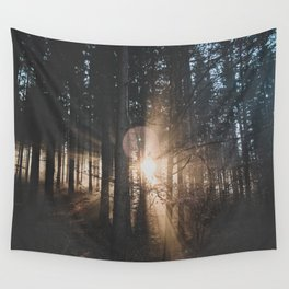 Sun Rays through Trees Wall Tapestry