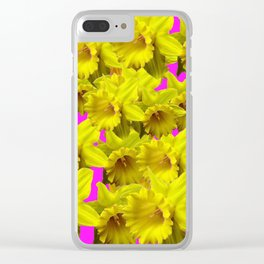 YELLOW SPRING DAFFODILS ON  VIOLET PURPLE ART Clear iPhone Case