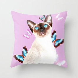 Siamese Butterfly Pink Throw Pillow