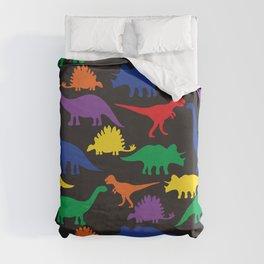 Dinosaurs - Black Duvet Cover