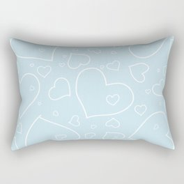 Palest Blue and White Hand Drawn Hearts Pattern Rectangular Pillow