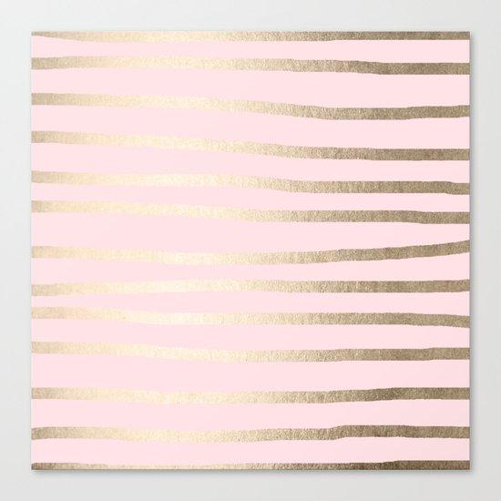 Drawn Stripes White Gold Sands on Flamingo Pink Canvas Print
