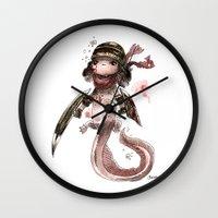 bouletcorp Wall Clocks featuring Axolotl Barbare by Bouletcorp