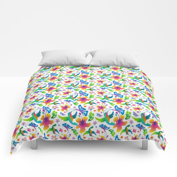 Flight and Flowers Comforters