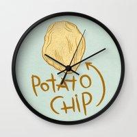 potato Wall Clocks featuring POTATO CHIP by Josh LaFayette