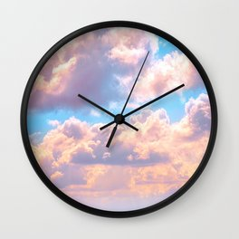 Beautiful Pink Cotton Candy Clouds Against Baby Blue Sky Fairytale Magical Sky Wall Clock