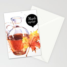 Watercolor Maple Syrup Stationery Cards