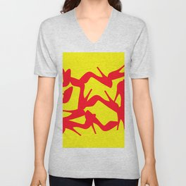 Shoe Fetish (Version 2) in Red and Yellow by Bruce Gray Unisex V-Neck