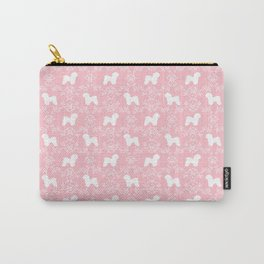 Bichon Frise dog florals silhouette pink and white minimal pet art dog breeds silhouettes Carry-All Pouch