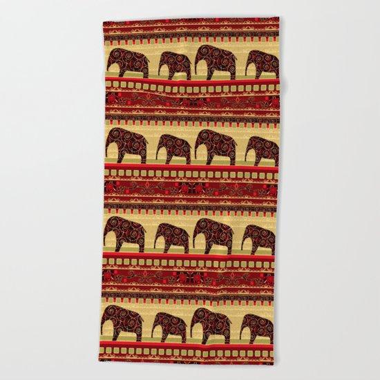 "African ornament . ""Elephants"" . Beach Towel"