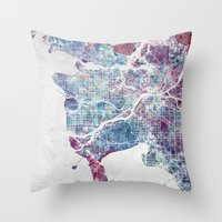 vancouver Throw Pillows featuring Vancouver map by MapMapMaps.Watercolors