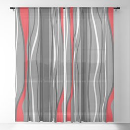 Abstract Graphic Design Lines Sheer Curtain