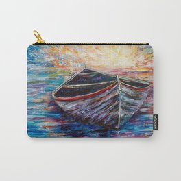 Wooden Boat at Sunrise my Painting with a Palette Knife Carry-All Pouch