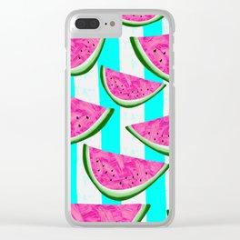 Watermelon Crush on Aqua and White Stripes Clear iPhone Case