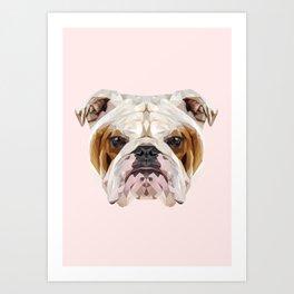 English Bulldog // Pastel Pink Art Print