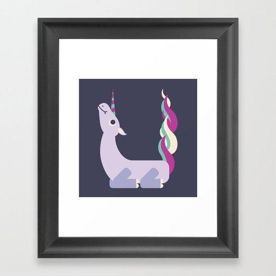 Letter U // Animal Alphabet // Unicorn Monogram Framed Art Print