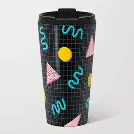 Geometric Memphis in Black Travel Mug