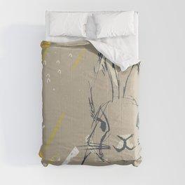 Bunny Portrait M+M Latte by Friztin Comforters