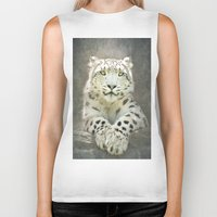 snow leopard Biker Tanks featuring Snow Leopard by Pauline Fowler ( Polly470 )