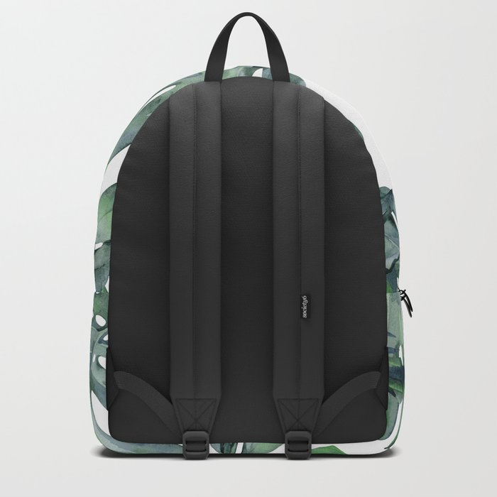 Tropical Palm Leaves Green and White Backpack