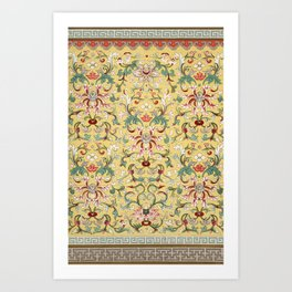 Asian Lotus Flower Pattern in Soft Yellow Antique Illustration Art Print