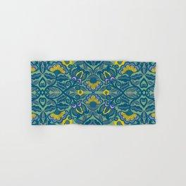 Blue Vines and Folk Art Flowers Pattern Hand & Bath Towel