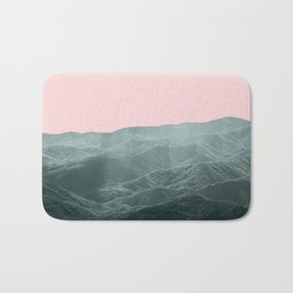 Mountains Pink + Green - Nature Photography Bath Mat