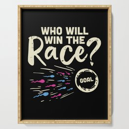 Who Will Win the Race Gender Reveal Baby Shower Funny Pregnancy Announcement Gifts Serving Tray