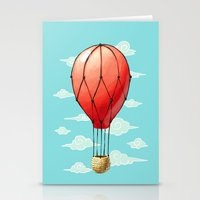 hot air balloon Stationery Cards featuring Hot Air Balloon by Freeminds