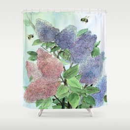 Lilacs and Bees Watercolor Painting Shower Curtain