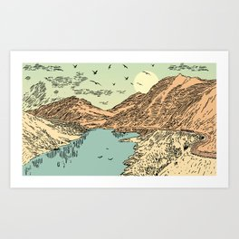 Mountain, Train & Lake Art Print