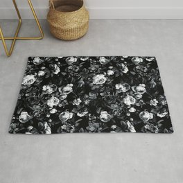 Roses Black and White Rug