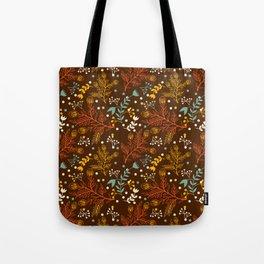 Elegant fall orange yellow teal brown floral polka dots Tote Bag