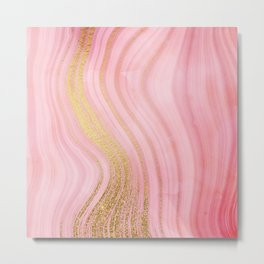 Walk with the waves - Pink and Gold Mermaid Marble Metal Print
