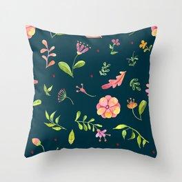Watercolor Summer Flower Pattern Throw Pillow