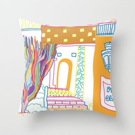 The Terrace And Place Of Olé - Colorful Drawing Throw Pillow
