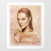 angelina jolie Art Prints featuring Angelina Jolie by Renato Cunha