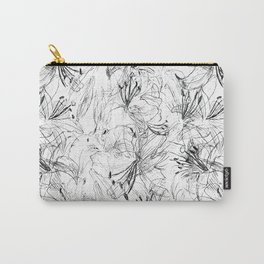 lily sketch black and white pattern Carry-All Pouch