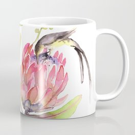 King Protea and Bird Watercolor Illustration Botanical Design Coffee Mug